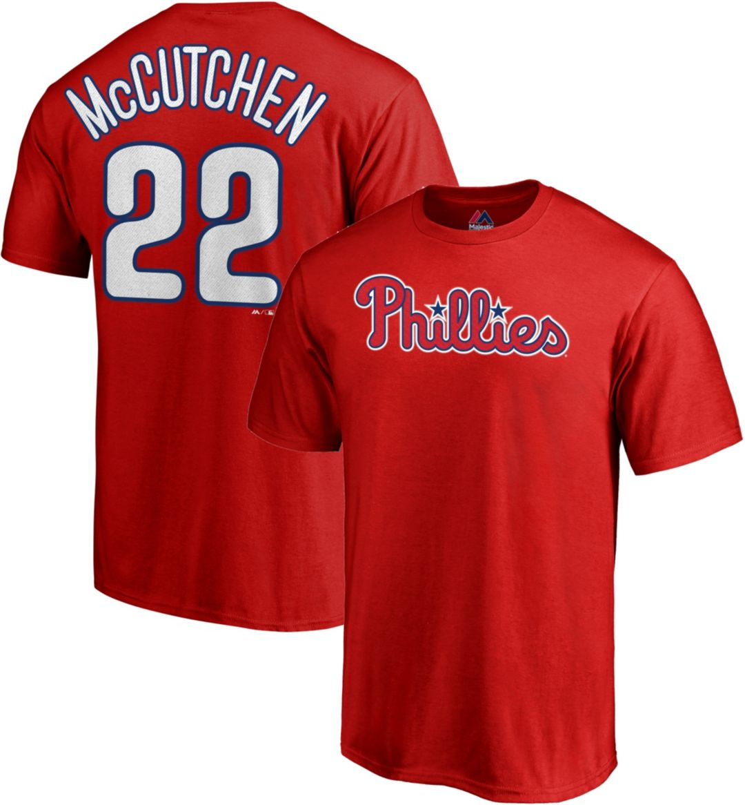 best service 3e714 1553e Majestic Men's Philadelphia Phillies Andrew McCutchen #22 Red T-Shirt