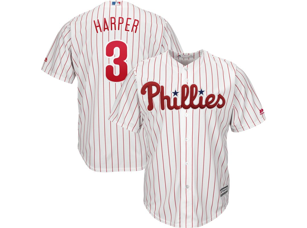 promo code e7831 97faf Majestic Men's Replica Philadelphia Phillies Bryce Harper #3 Cool Base Home  White Jersey