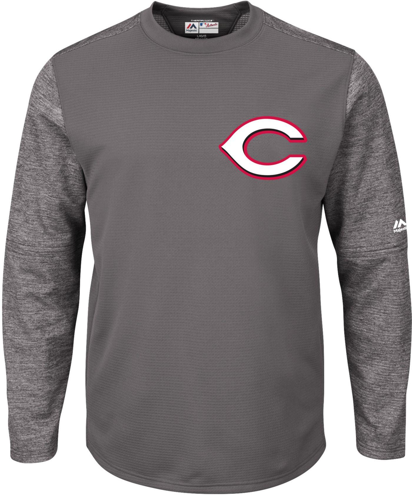 Majestic Men's Cincinnati Reds Therma Base Authentic Collection Pullover Tech Fleece