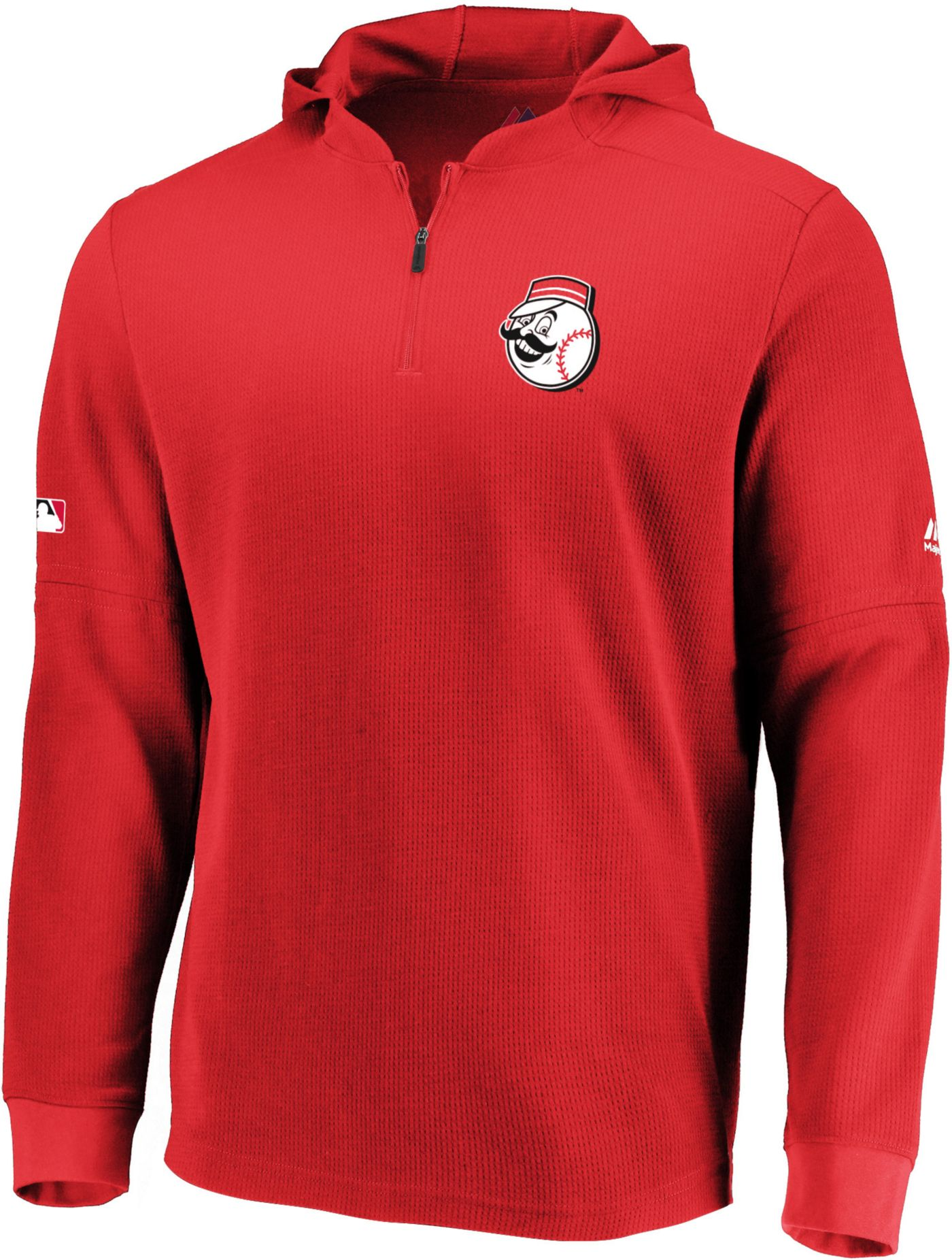 Majestic Men's Cincinnati Reds Authentic Collection Batting Practice Waffle Hooded Pullover
