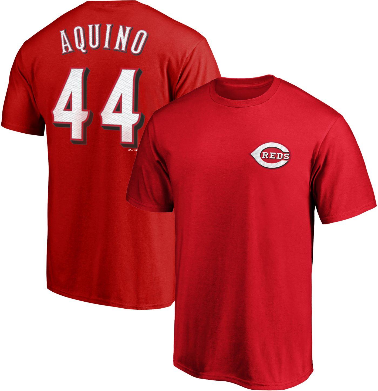 Majestic Men's Cincinnati Reds Aristides Aquino #44 Red T-Shirt