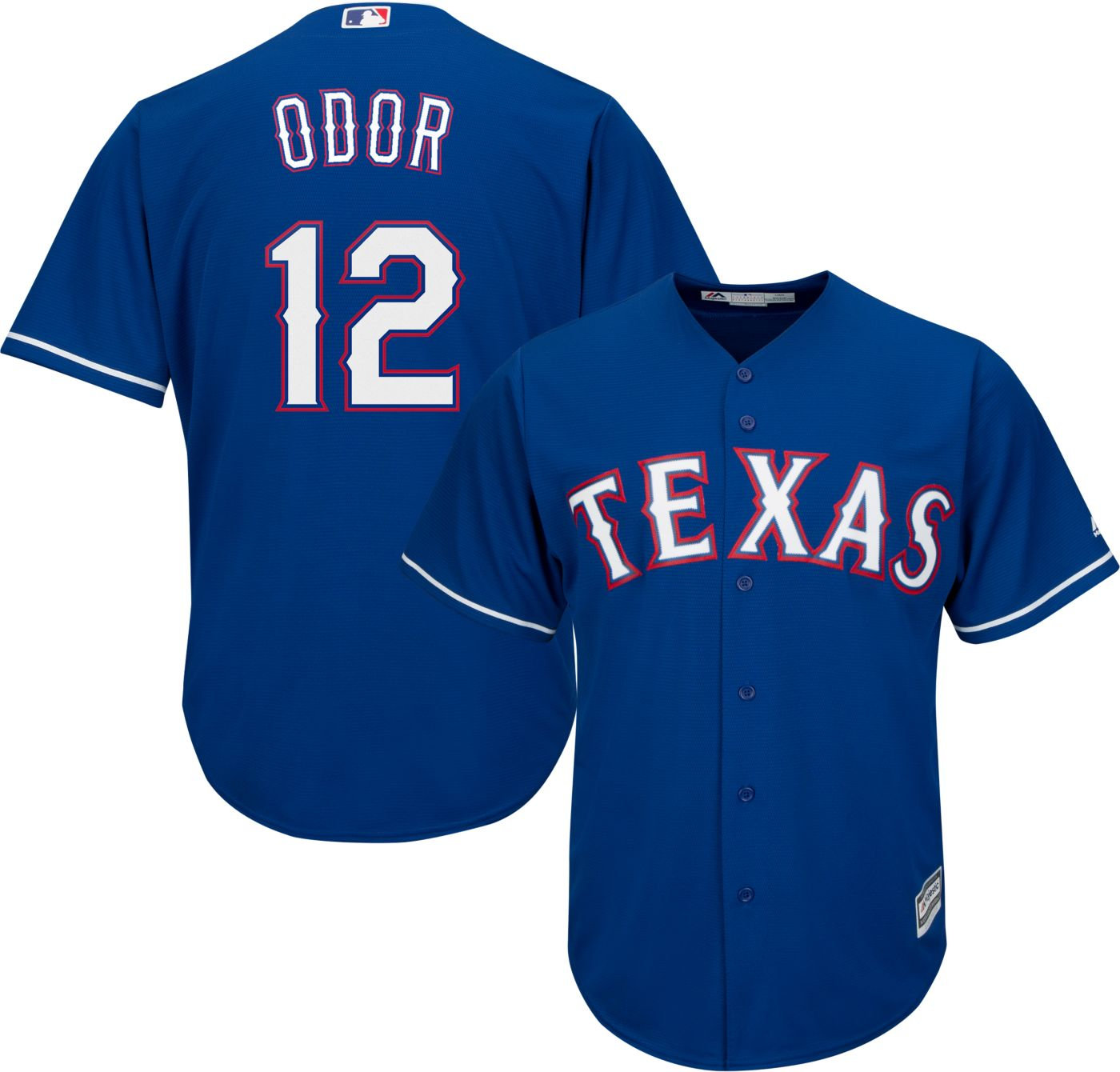Majestic Men's Replica Texas Rangers Rougned Odor #12 Cool Base Alternate Royal Jersey