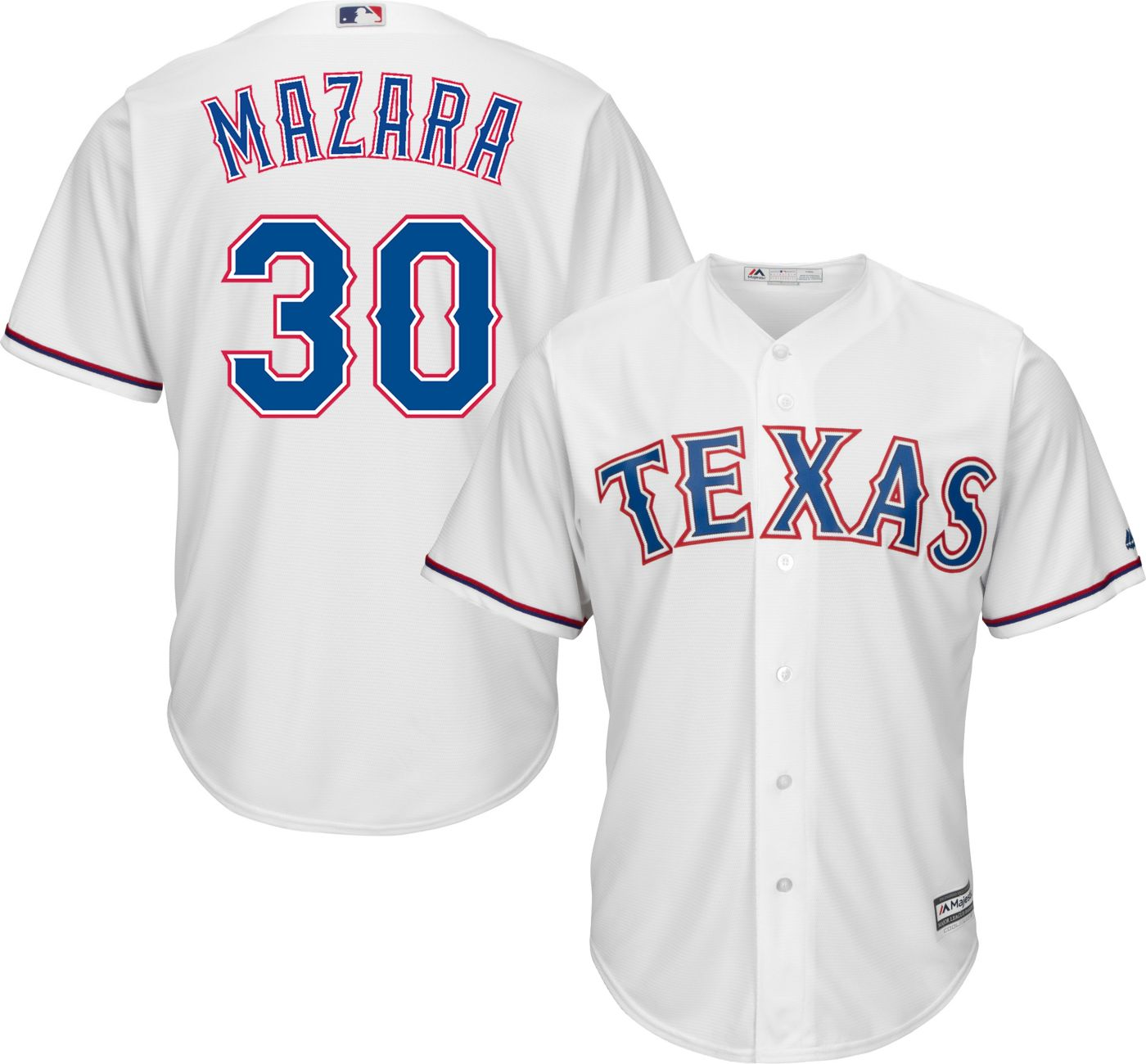Majestic Men's Replica Texas Rangers Nomar Mazara #30 Cool Base Home White Jersey
