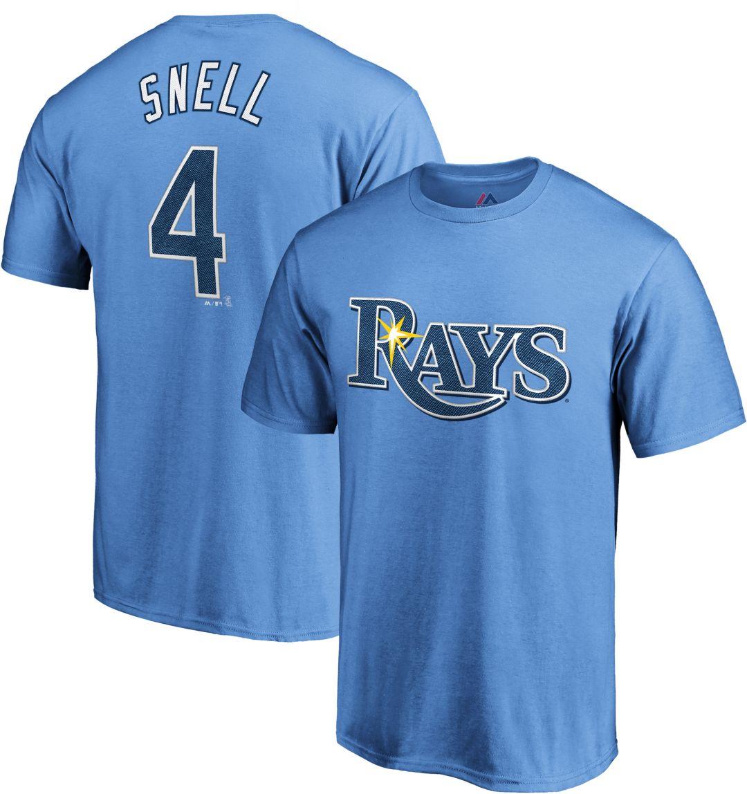 more photos 94de7 f45bb Majestic Men's Tampa Bay Rays Blake Snell #4 Light Blue T-Shirt