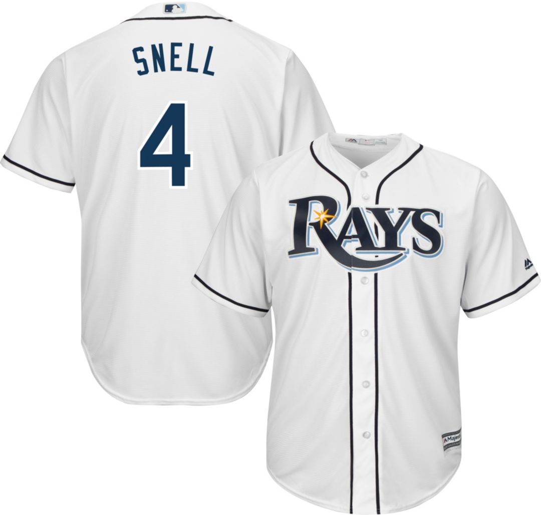 new concept 59af8 8c1cb Majestic Men's Replica Tampa Bay Rays Blake Snell #4 Cool Base Home White  Jersey