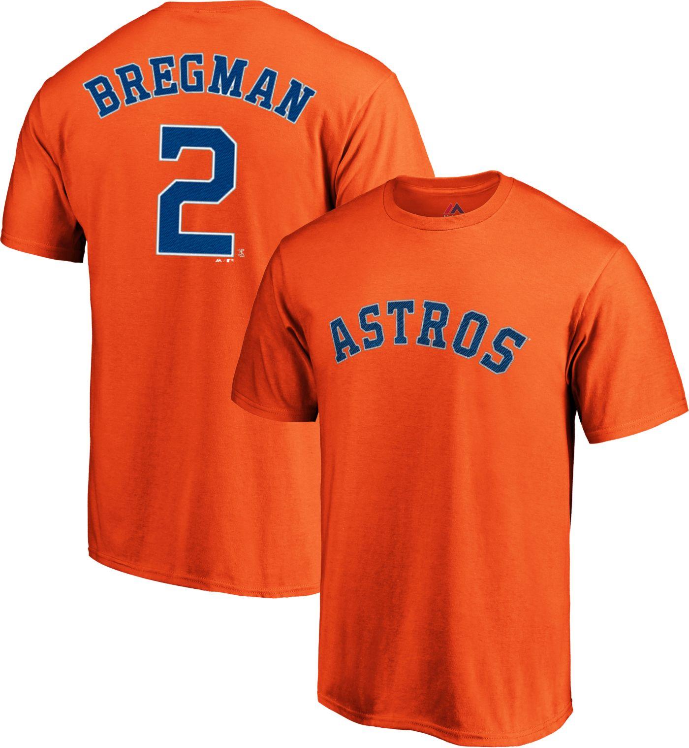 Majestic Men's Houston Astros Alex Bregman #2 Orange T-Shirt