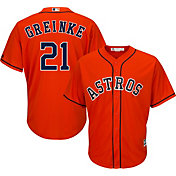 Majestic Men's Replica Houston Astros Zack Greinke #21 Cool Base Alternate Orange Jersey