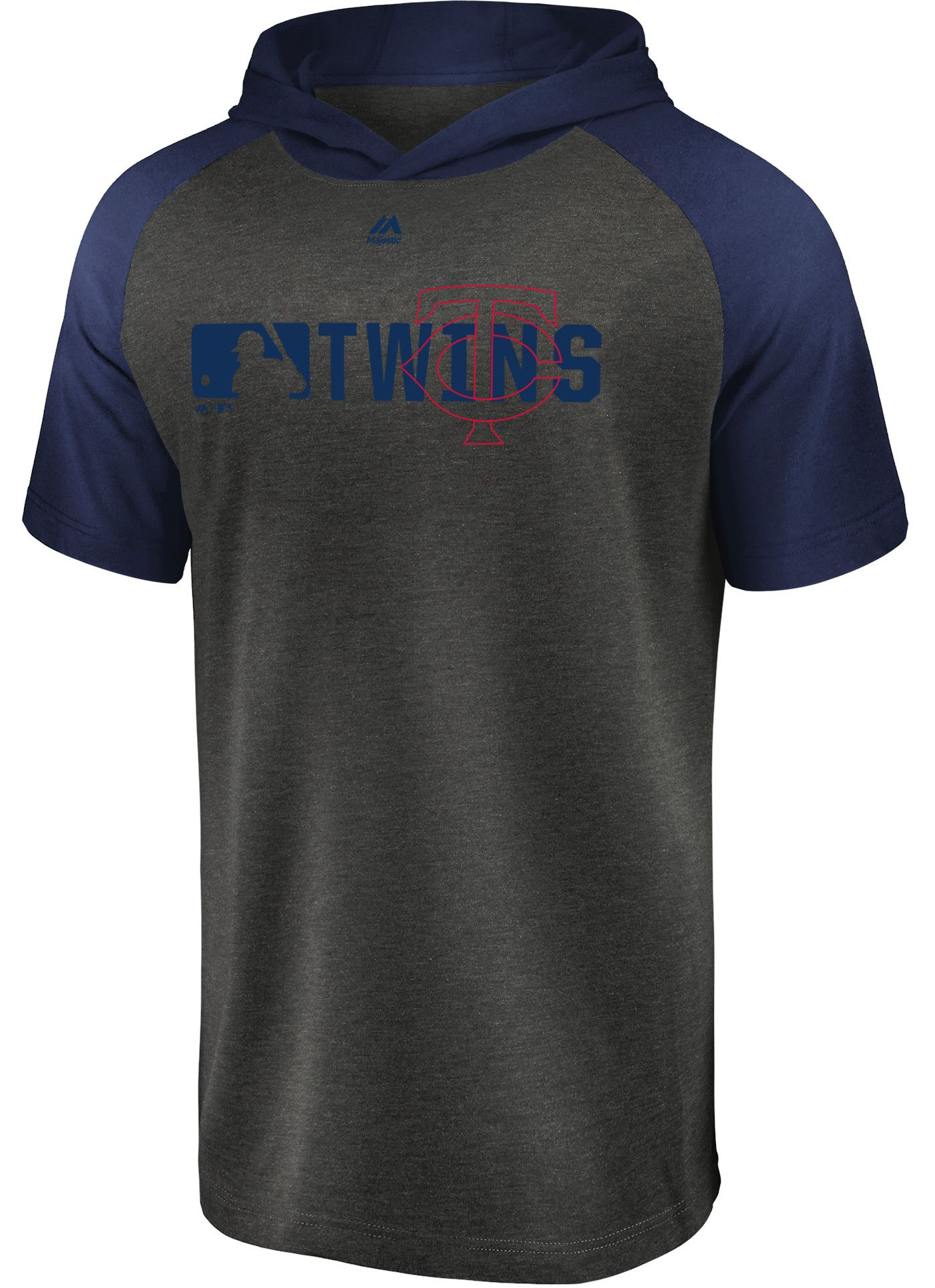 Majestic Men's Minnesota Twins Authentic Collection Raglan Pullover Short Sleeve Hoodie