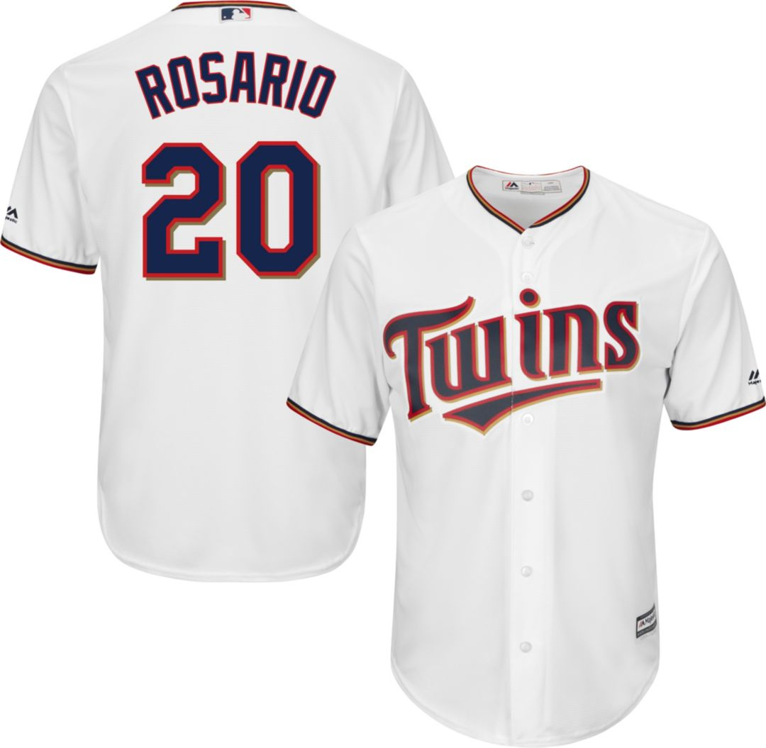 save off c73f5 d7884 Majestic Men's Replica Minnesota Twins Eddie Rosario #20 Cool Base Home  White Jersey