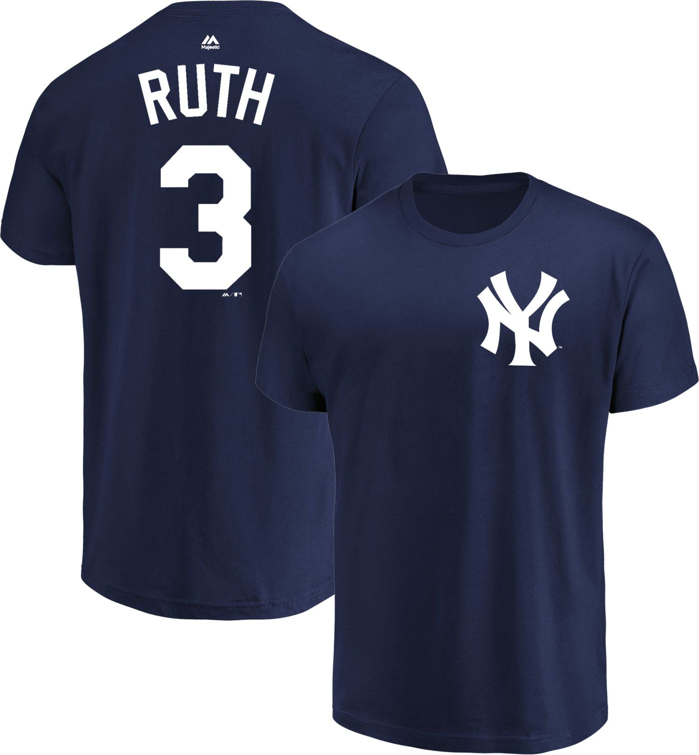 Majestic Men's New York Yankees Babe Ruth #3 Navy Cooperstown T-Shirt