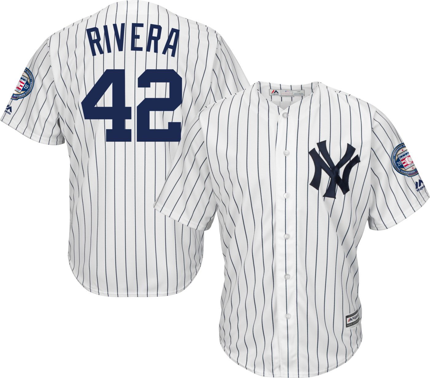 Majestic Men's Replica New York Yankees Mariano Rivera #42 Cool Base Home White Jersey w/ 2019 Hall-of-Fame Patch