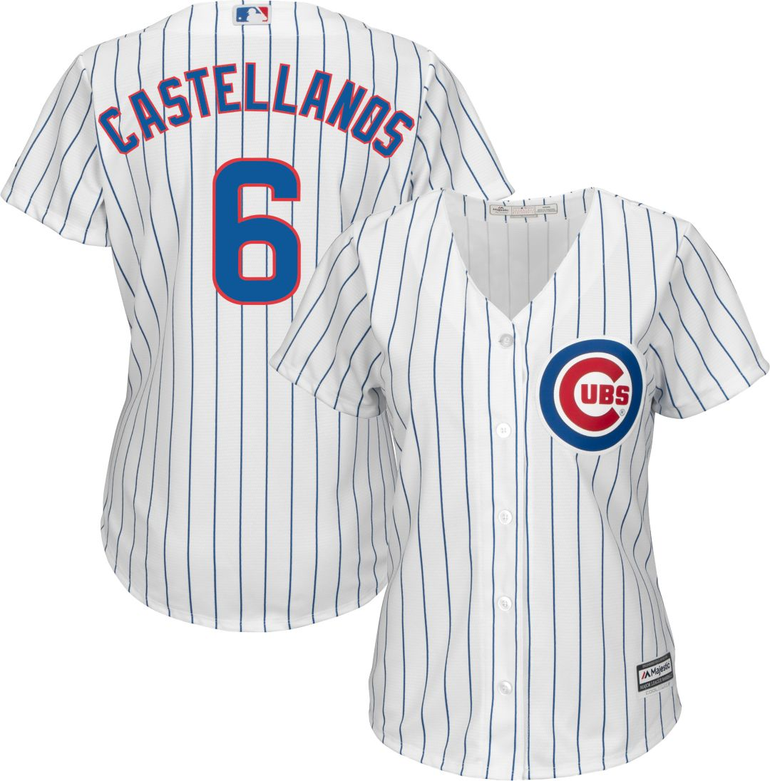 buy popular 37e0a dff3d Majestic Women's Replica Chicago Cubs Nick Castellanos #6 Cool Base Home  White Jersey