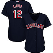 Majestic Women's Replica Cleveland Indians Francisco Lindor #12 Cool Base Alternate Navy Jersey