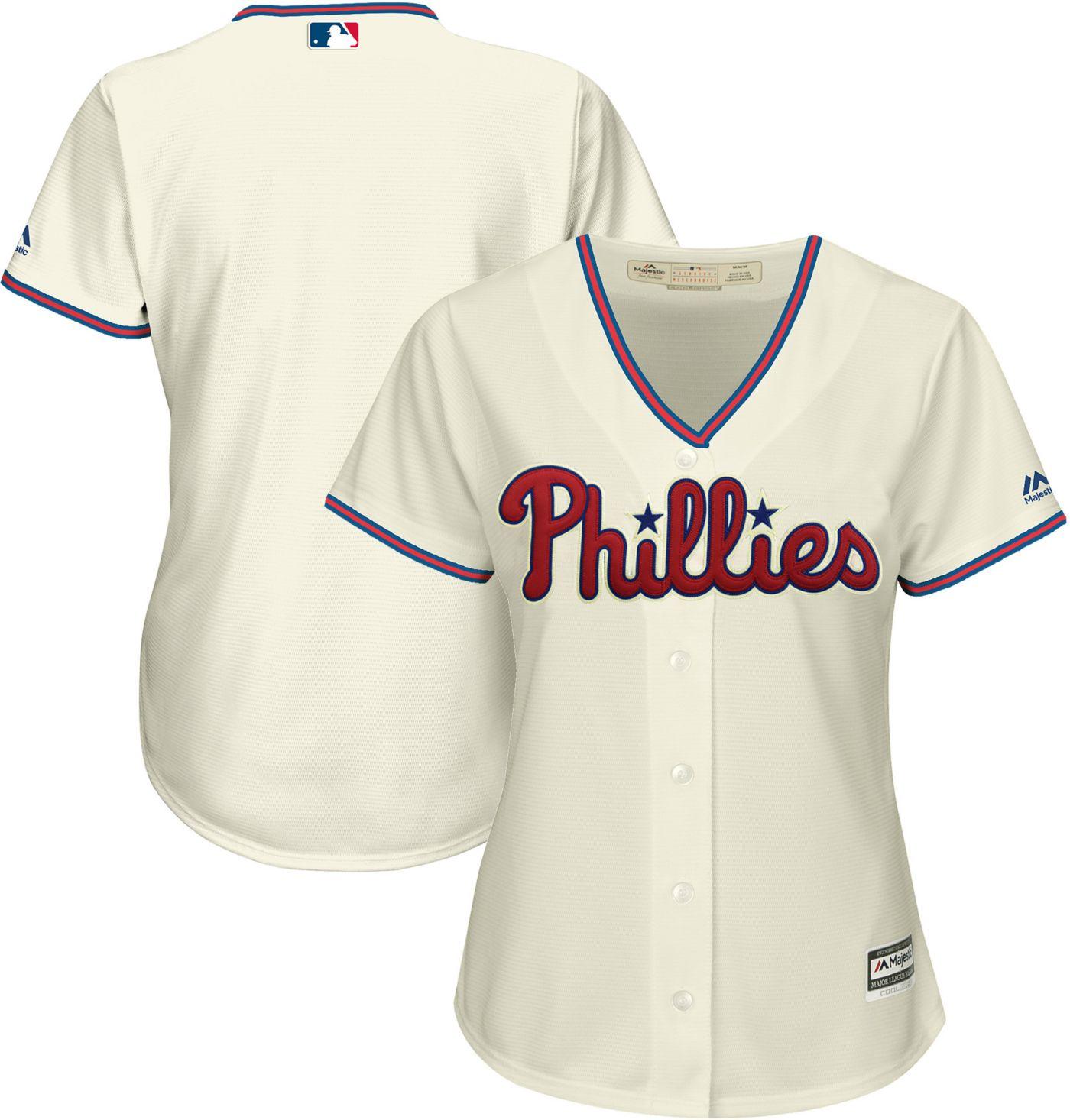 Majestic Women's Replica Philadelphia Phillies Cool Base Alternate Ivory Jersey