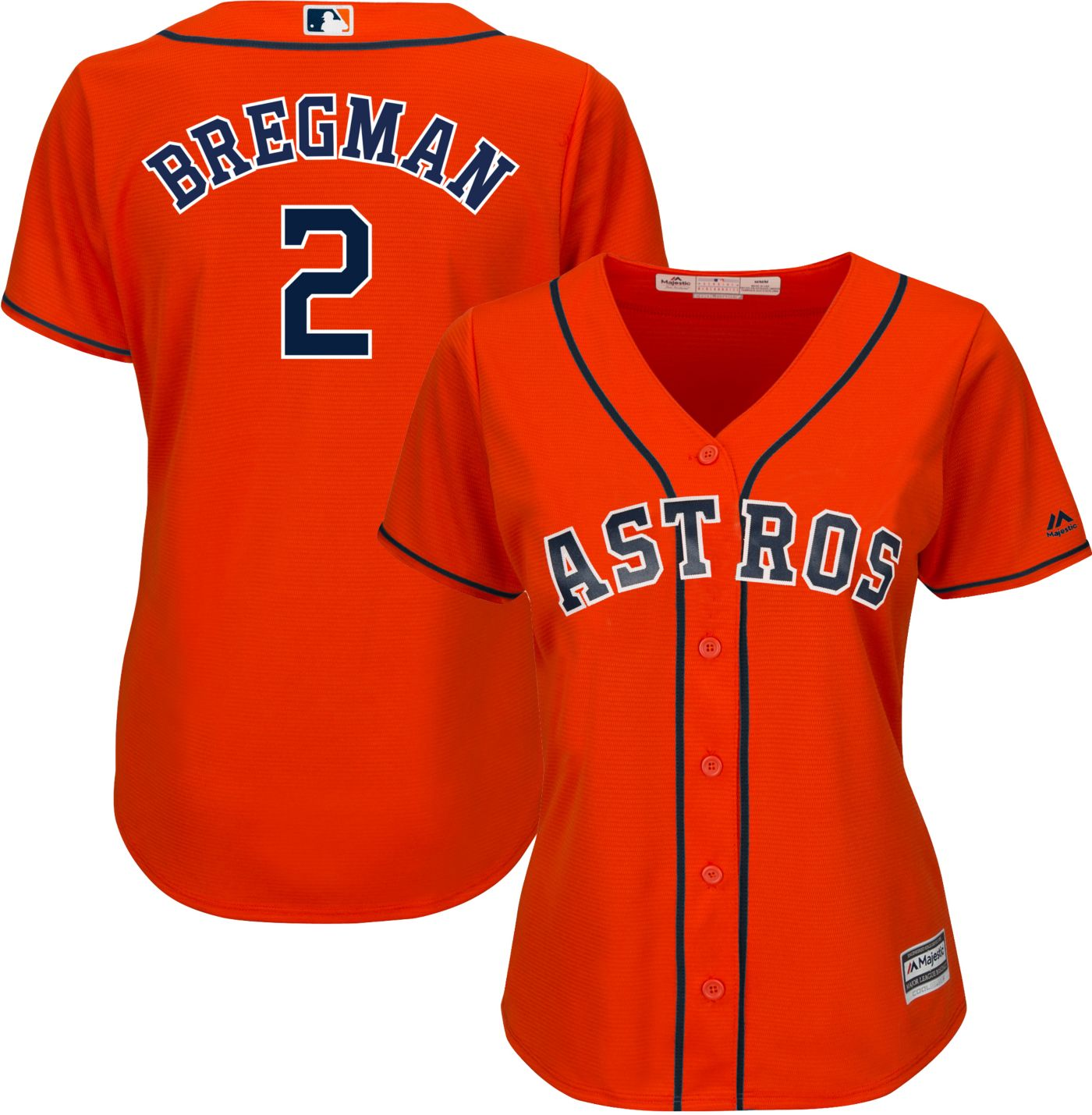 Majestic Women's Replica Houston Astros Alex Bregman #2 Cool Base Alternate Orange Jersey