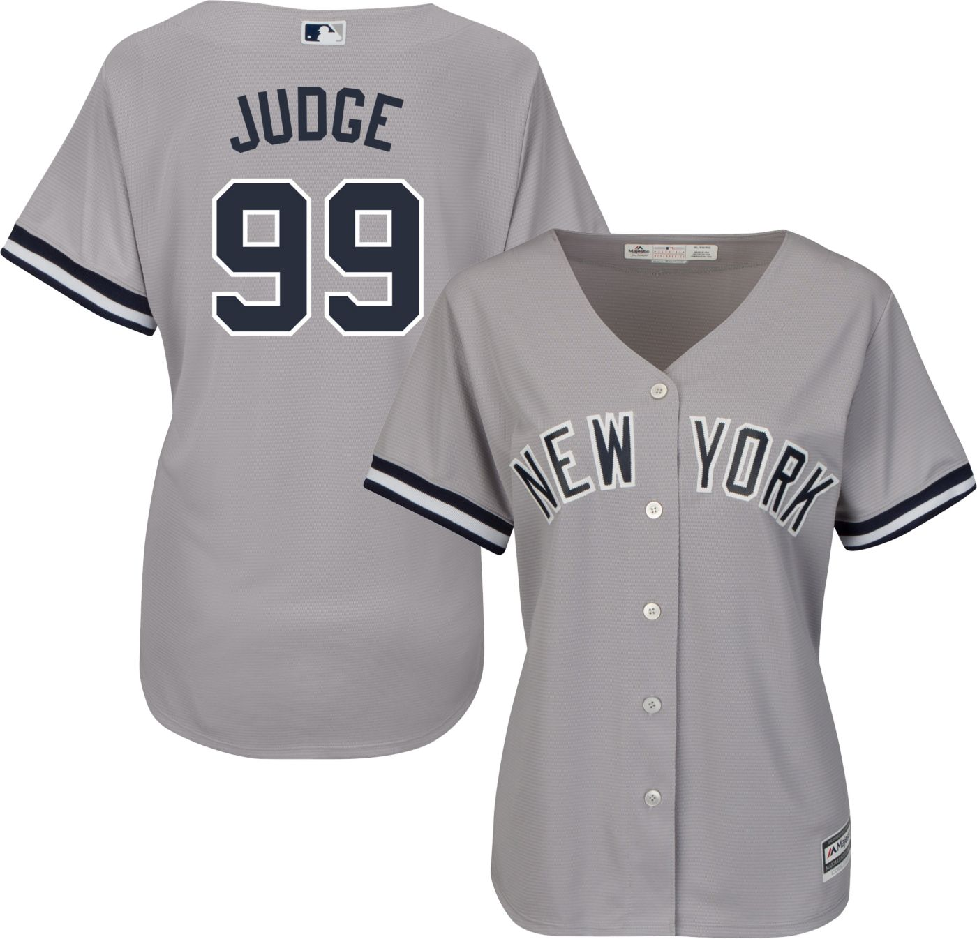 Majestic Women's Replica New York Yankees Aaron Judge #99 Cool Base Road Grey Jersey