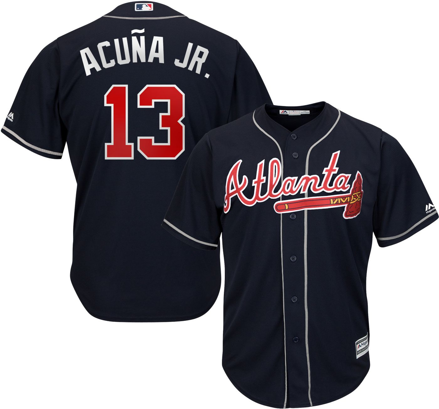 Majestic Youth Replica Atlanta Braves Ronald Acuna #13 Cool Base Alternate Navy Jersey