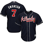 Majestic Youth Replica Atlanta Braves Dansby Swanson #7 Cool Base Alternate Navy Jersey