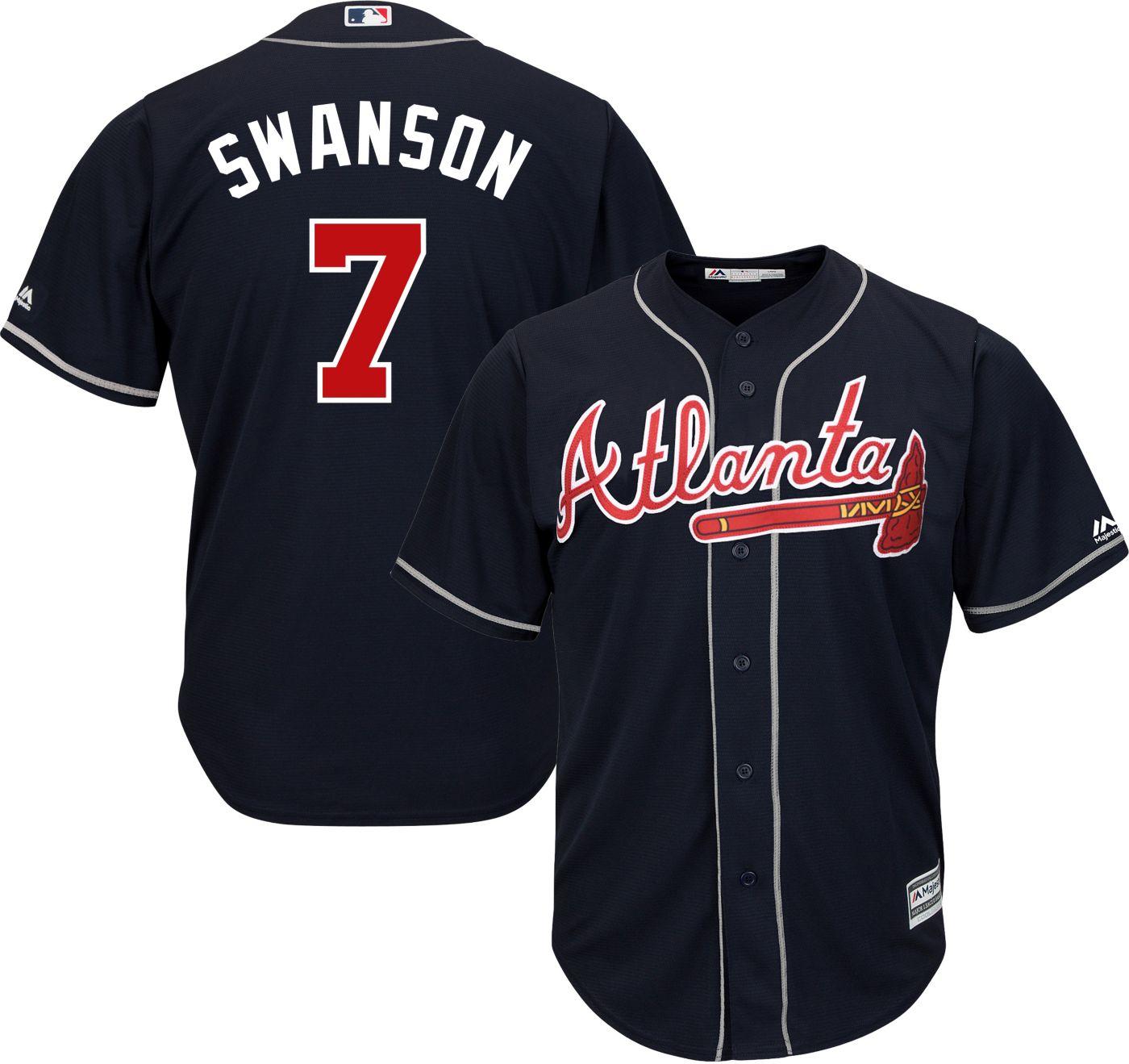Majestic Youth Replica Atlanta Braves Dansby Swanson #7 Cool Base Alternate Navy Jersey