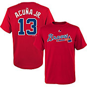 Majestic Boys' Atlanta Braves Ronald Acuna #13 Red T-Shirt