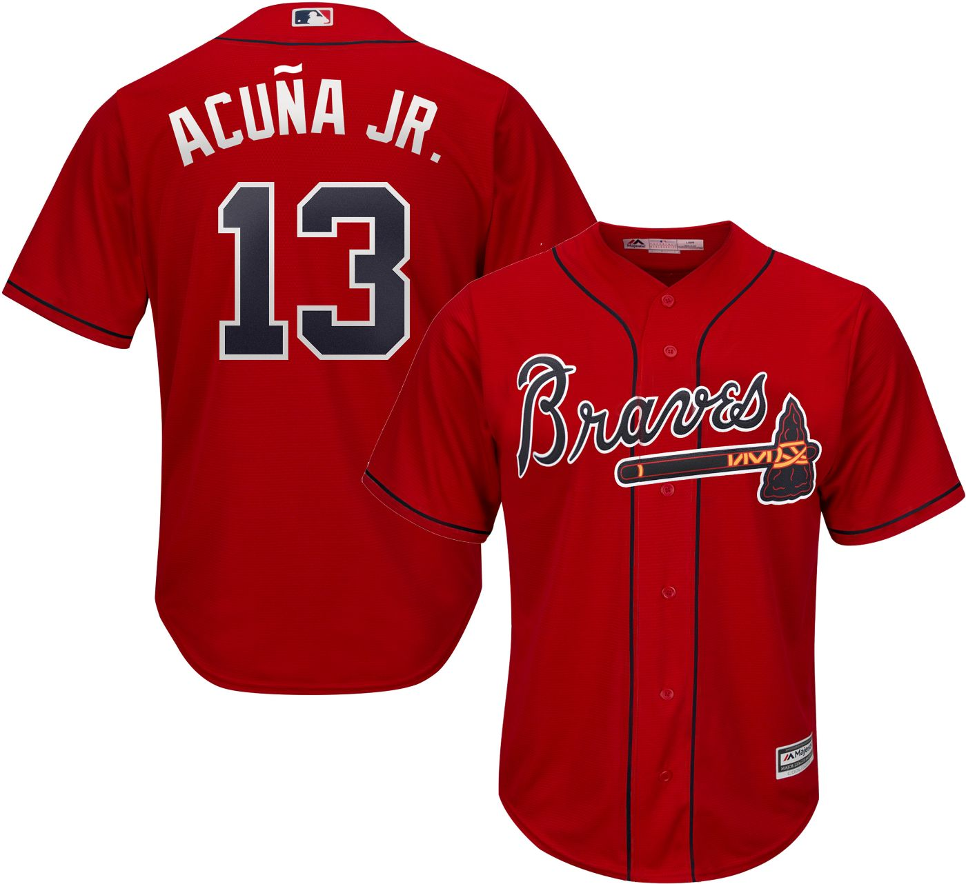 Majestic Youth Replica Atlanta Braves Ronald Acuna #13 Cool Base Alternate Red Jersey