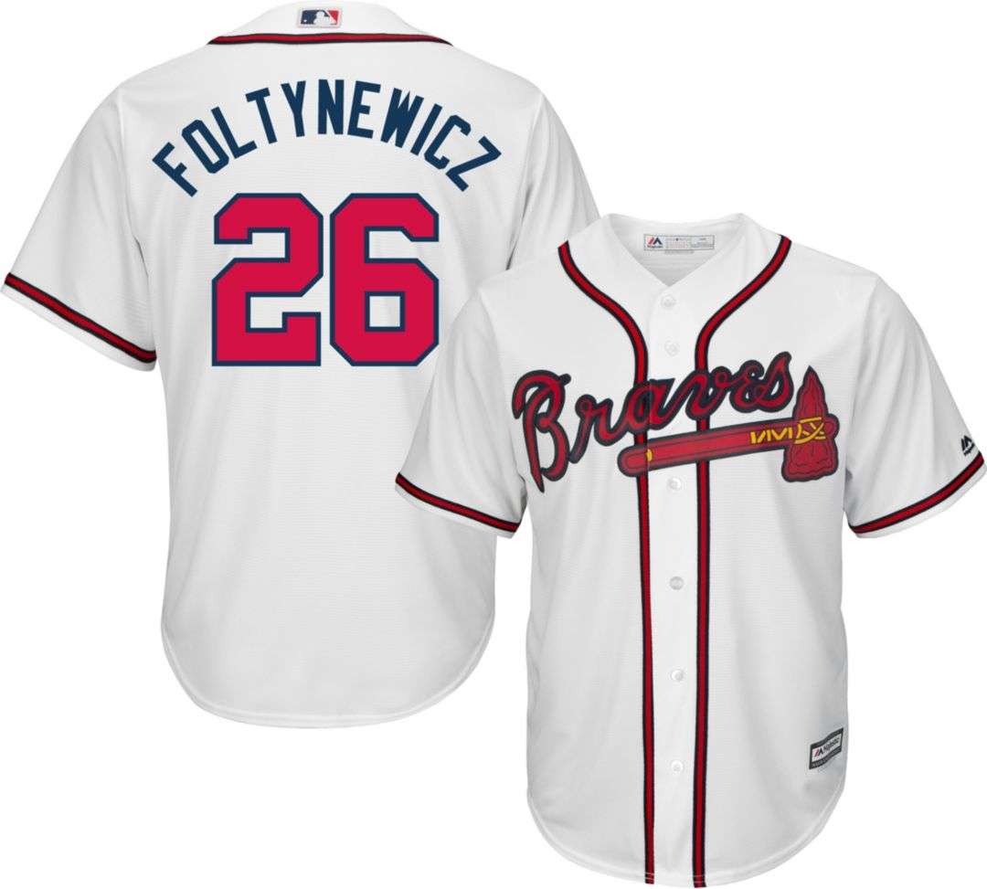 buy online 6f811 15eb6 Majestic Youth Replica Atlanta Braves Mike Foltynewicz #26 Cool Base Home  White Jersey