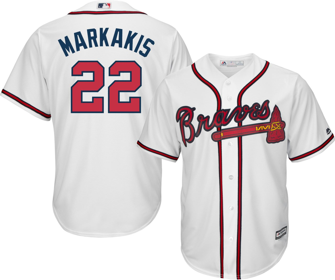 Majestic Youth Replica Atlanta Braves Nick Markakis #22 Cool Base Home White Jersey