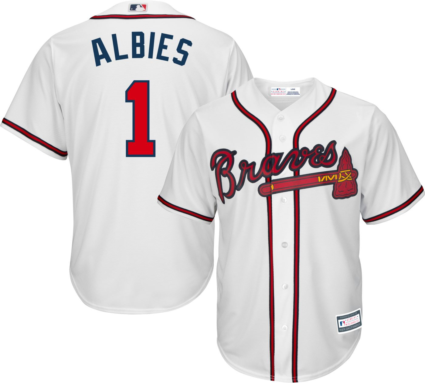 Majestic Youth Replica Atlanta Braves Ozzie Albies #1 Cool Base Home White Jersey