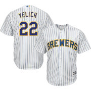 Majestic Youth Replica Milwaukee Brewers Christian Yelich #22 Cool Base Alternate White Jersey