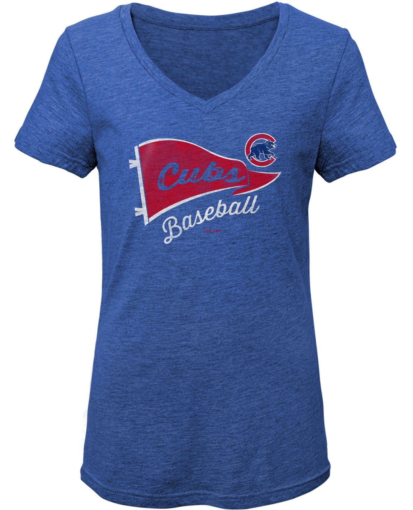Gen2 Youth Girls' Chicago Cubs Tri-Blend V-Neck T-Shirt