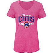 Gen2 Youth Girls' Chicago Cubs Pink Tri-Blend V-Neck T-Shirt