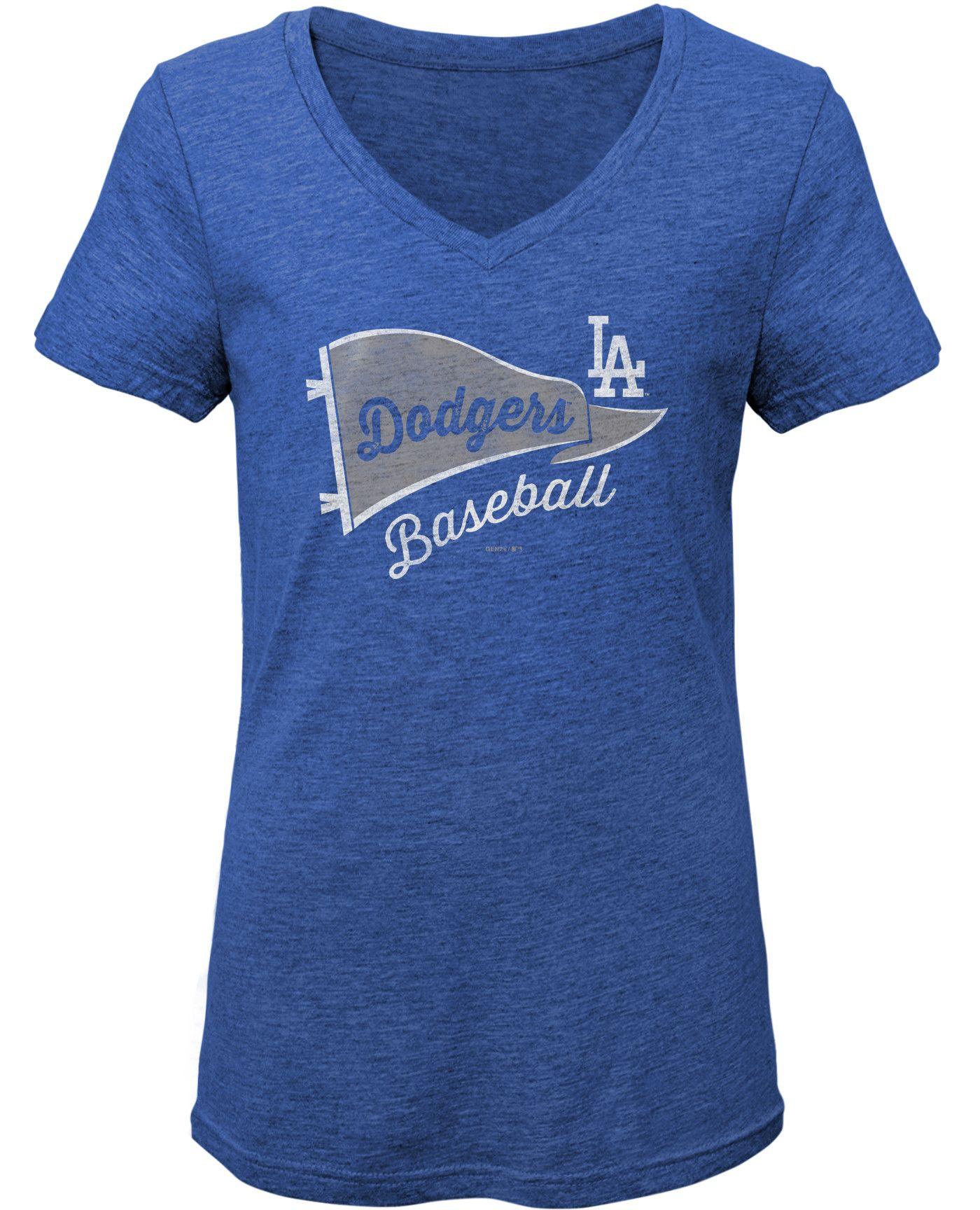 Gen2 Youth Girls' Los Angeles Dodgers Tri-Blend V-Neck T-Shirt