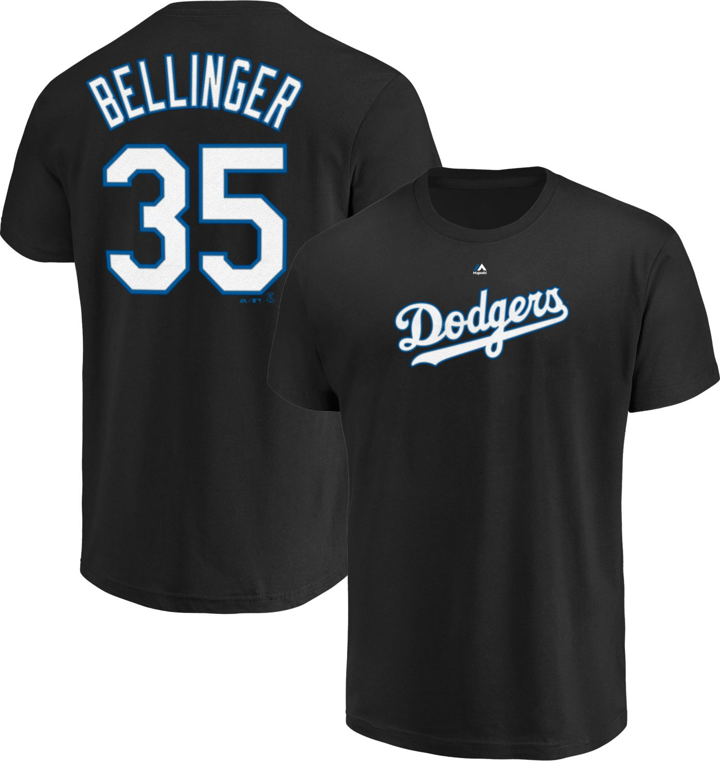 Majestic Youth Los Angeles Dodgers Cody Bellinger #35 Black T-Shirt