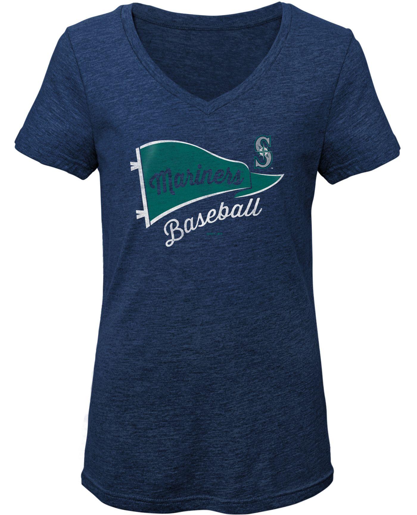 Gen2 Youth Girls' Seattle Mariners Tri-Blend V-Neck T-Shirt