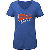 Gen2 Youth Girls' New York Mets Tri-Blend V-Neck T-Shirt