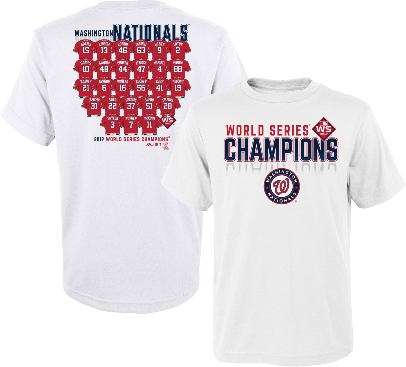 Youth 2019 World Series Champions Washington Nationals Roster T-Shirt