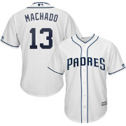 Majestic Youth Replica San Diego Padres Manny Machado #13 Cool Base Home White Jersey