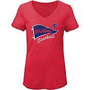 Gen2 Youth Girls' Philadelphia Phillies Tri-Blend V-Neck T-Shirt