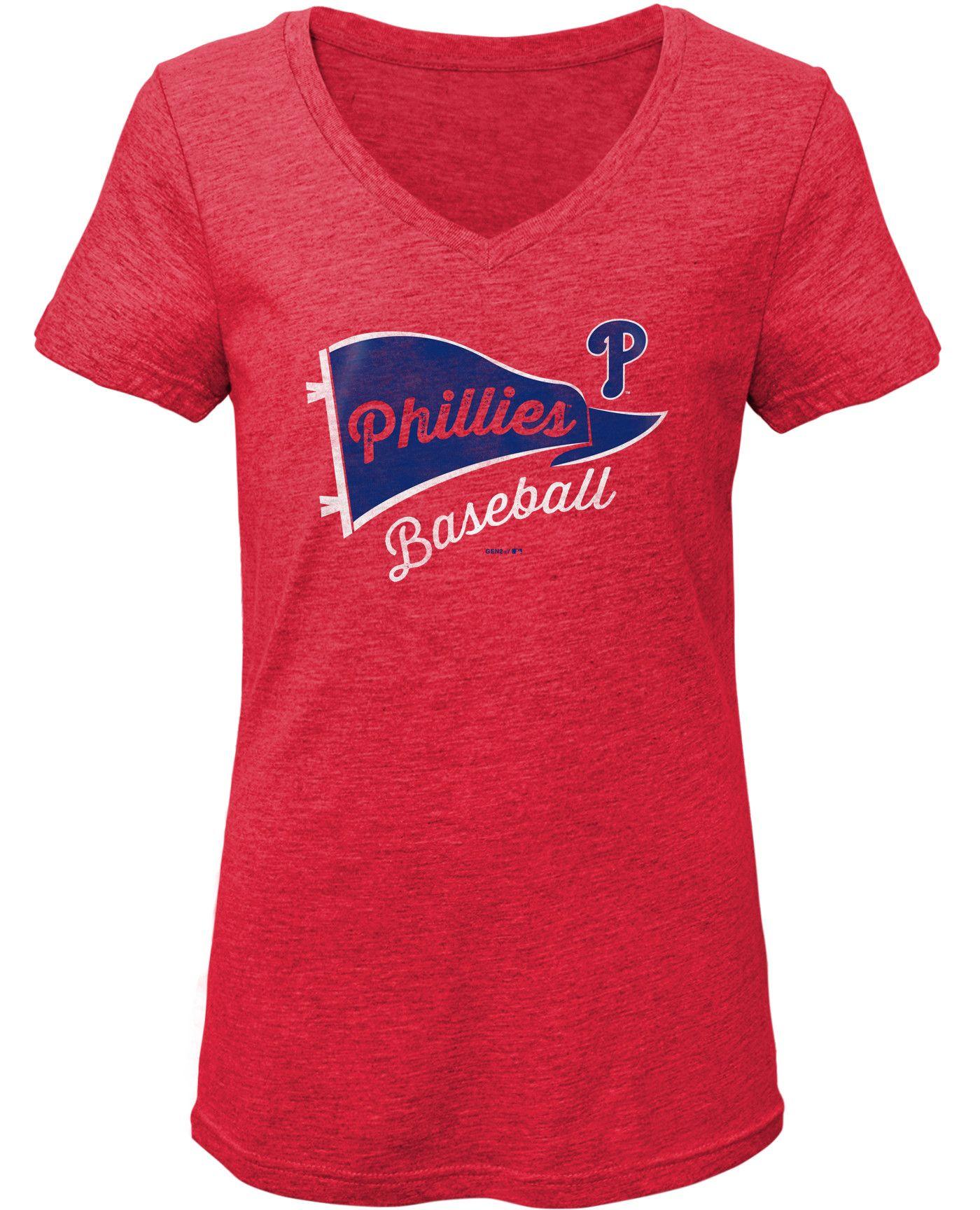 Gen2 Youth Girls' Philadelphia Phillies Tri-Blend V-Neck T-Shirt