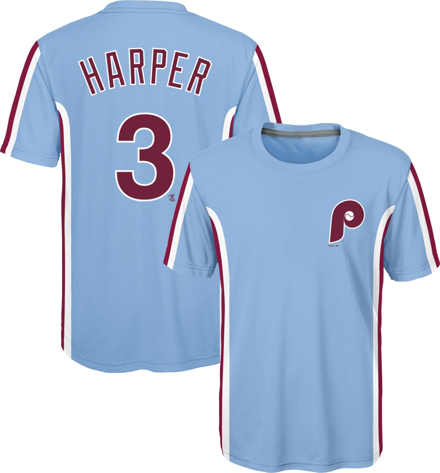 Majestic Youth Philadelphia Phillies Bryce Harper #3 Light Blue T-Shirt