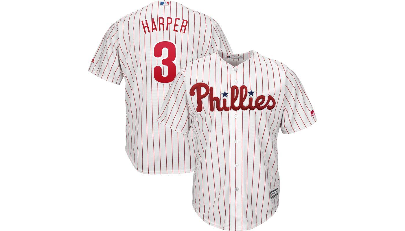 Majestic Youth Replica Philadelphia Phillies Bryce Harper #3 Cool Base Home White Jersey