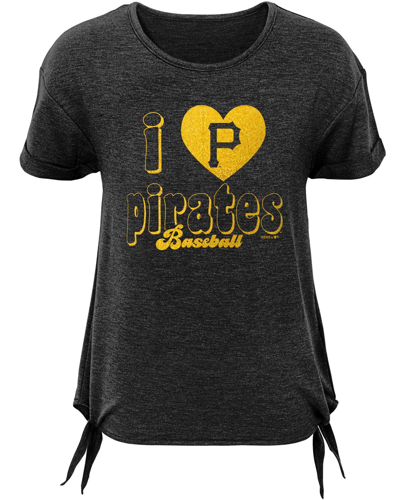 Gen2 Youth Girls' Pittsburgh Pirates Side Ties Tri-Blend T-Shirt