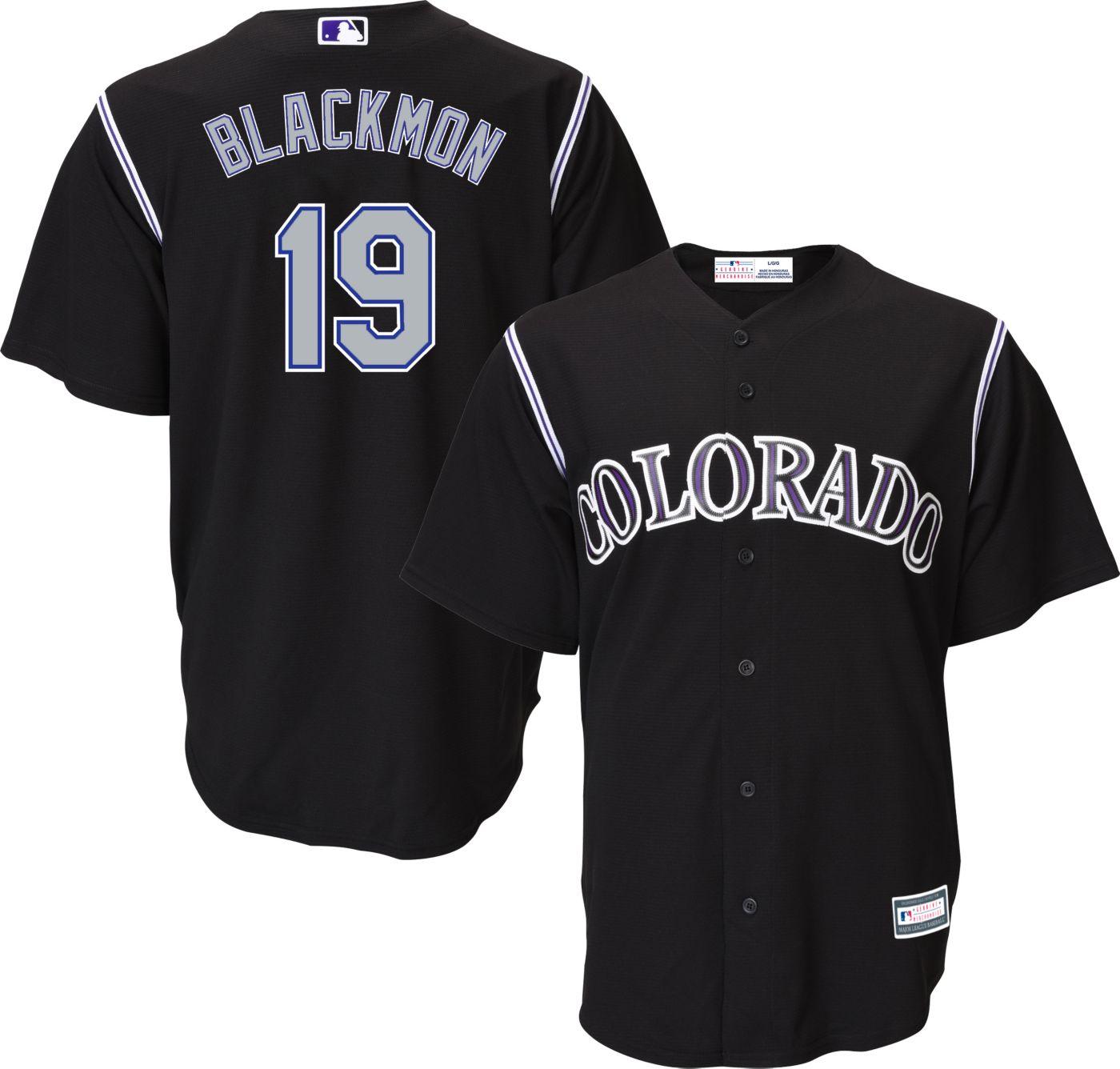 Majestic Youth Replica Colorado Rockies Charlie Blackmon #19 Cool Base Alternate Black Jersey