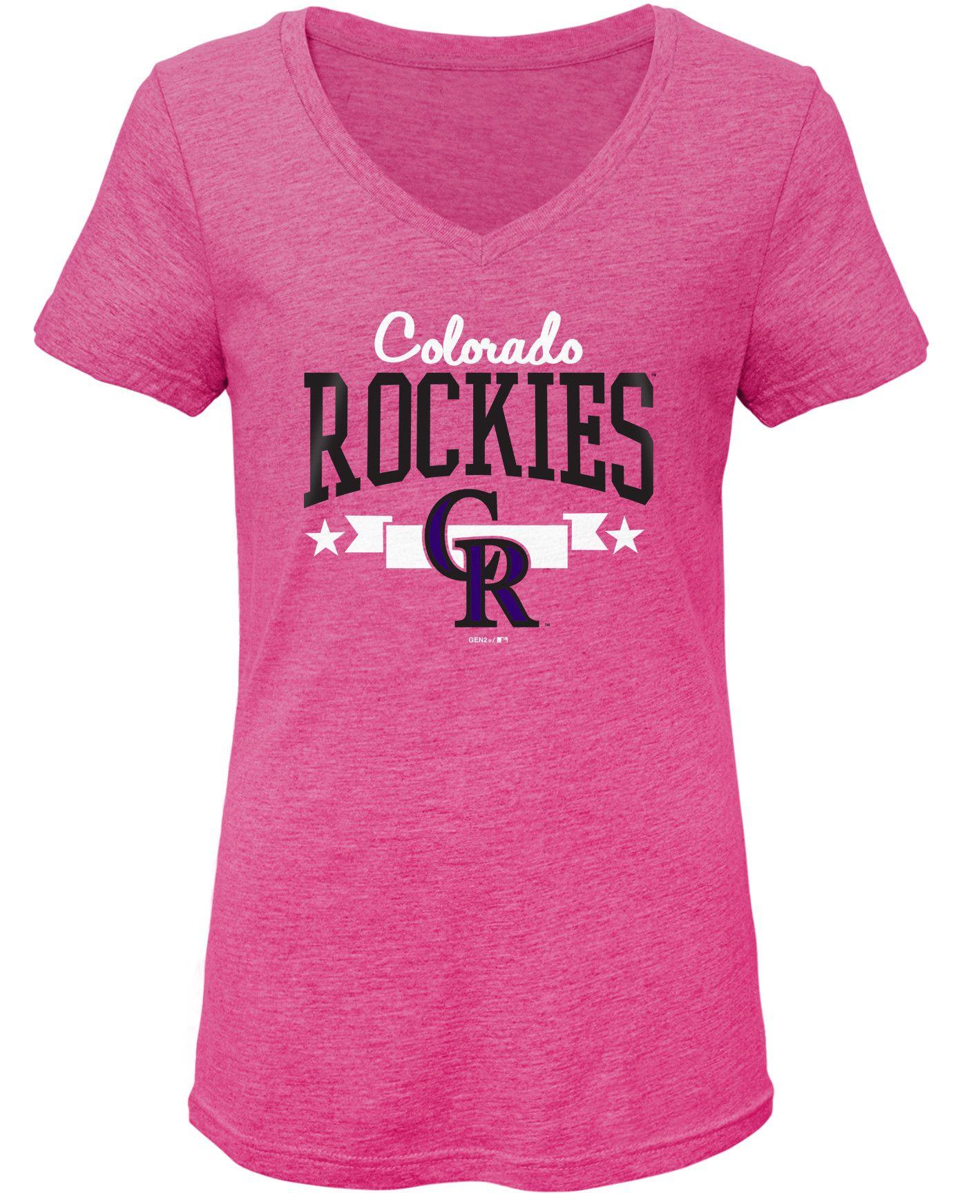 Gen2 Youth Girls' Colorado Rockies Pink Tri-Blend V-Neck T-Shirt