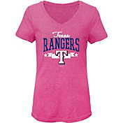 Gen2 Youth Girls' Texas Rangers Pink Tri-Blend V-Neck T-Shirt
