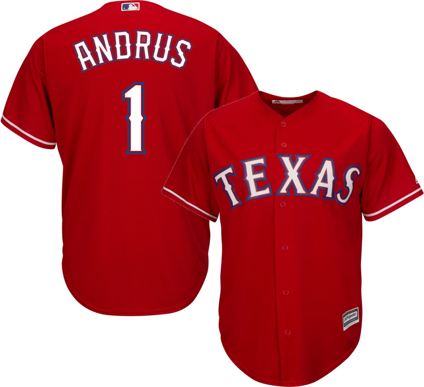 Majestic Youth Replica Texas Rangers Elvis Andrus #1 Cool Base Alternate Red Jersey
