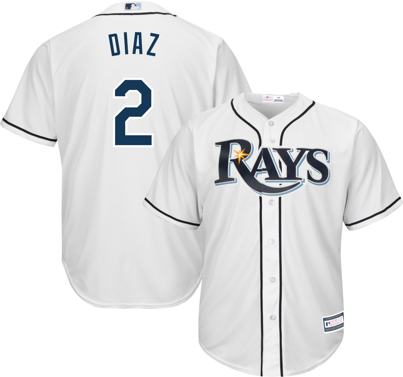 Youth Replica Tampa Bay Rays Yandy Diaz #2 Home White Jersey