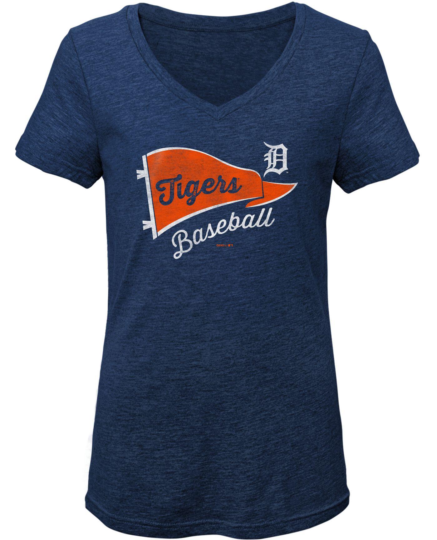 Gen2 Youth Girls' Detroit Tigers Tri-Blend V-Neck T-Shirt