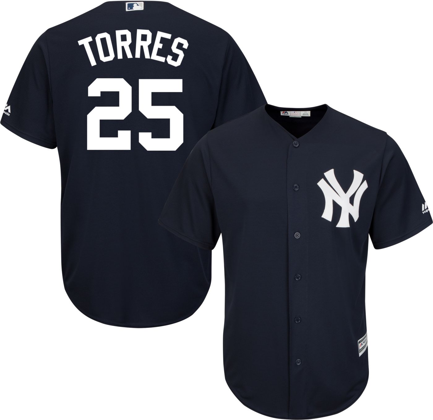 Majestic Youth Replica New York Yankees Gleyber Torres #25 Cool Base Alternate Navy Jersey