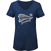 Gen2 Youth Girls' New York Yankees Tri-Blend V-Neck T-Shirt